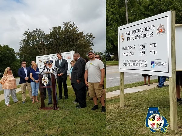 Baltimore County Overdose Signage Event