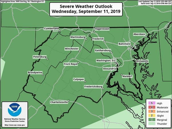 NWS Baltimore Storm Risk 20190911