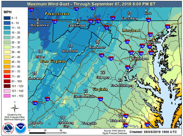 NWS Wind Gusts Dorian Maryland 20190905