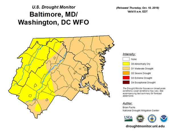 Maryland Moderate Drought 20191010