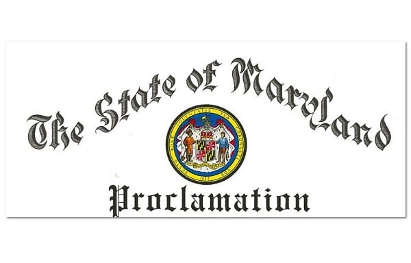 Maryland Proclamation