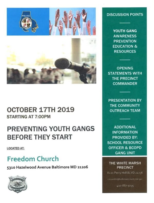 Youth Gang Prevention Seminar Rosedale Oct-2019