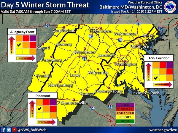 Winter Storm Risk NWS Baltimore 20200115