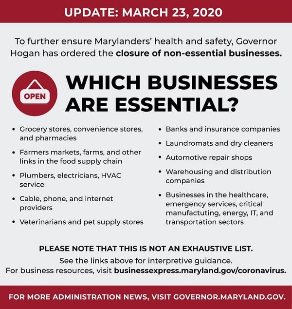 Maryland Essential Businesses 202003