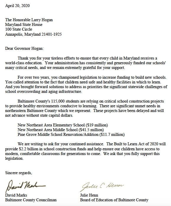 Henn Marks Letter Hogan Built to Learn Act 20200420