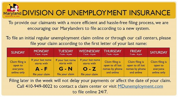 Maryland Unemployment Insurance Claim Center Guidelines 20200401