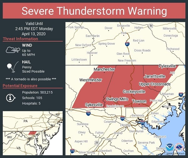 NWS Baltimore County Thunderstorm Warning 20200413