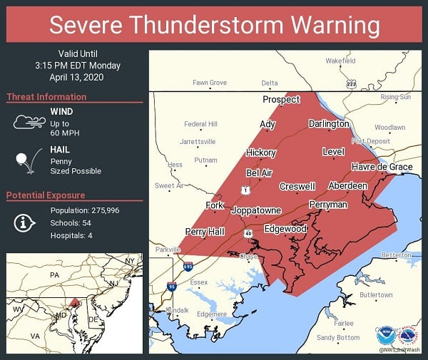 NWS Baltimore County Thunderstorm Warning 20200413b