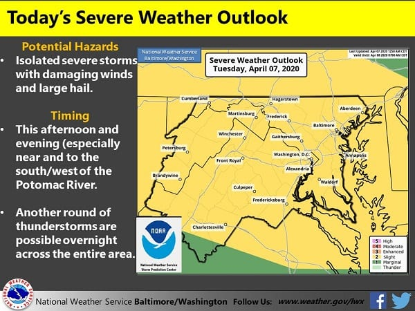 NWS Baltimore Storm Chance 20200407