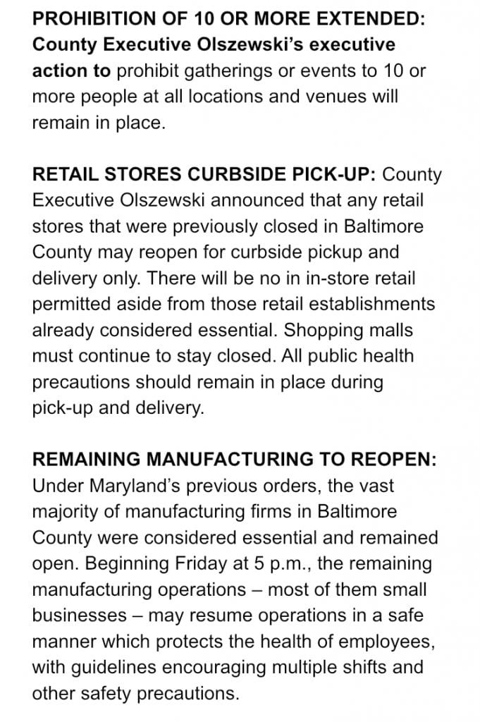 Baltimore County Restrictions 1