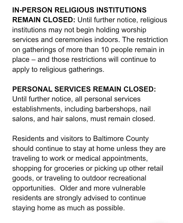 Baltimore County Restrictions 2