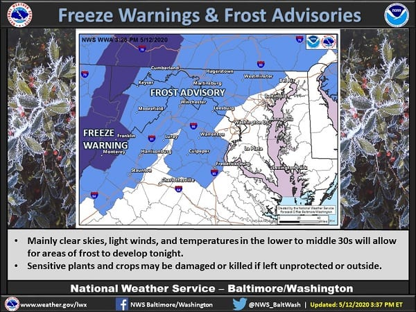 NWS Frost Advisory Baltimore 20200512