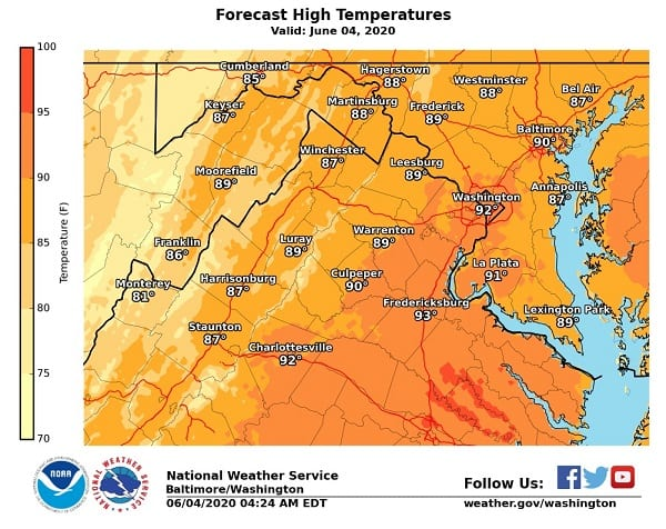 NWS Maryland High Temp 20200604