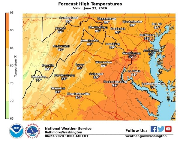 NWS Maryland High Temp 20200623