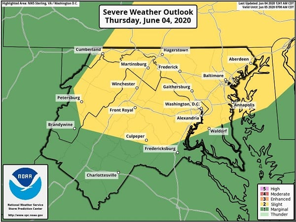 NWS Maryland Storm Chance 20200604