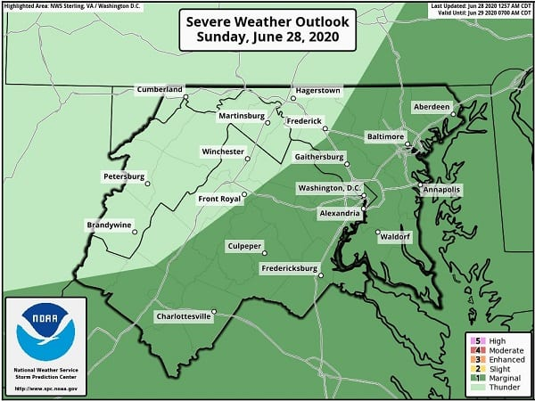 NWS Maryland Storm Risk 20200628