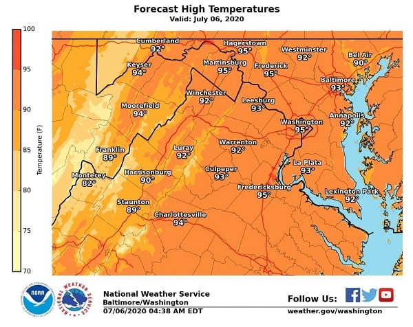 NWS High Temperatures Maryland 20200706