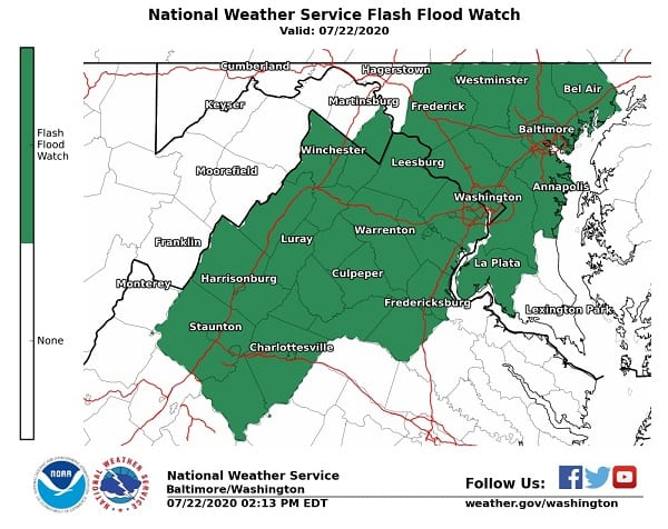 NWS Maryland Flood Watch 20200722