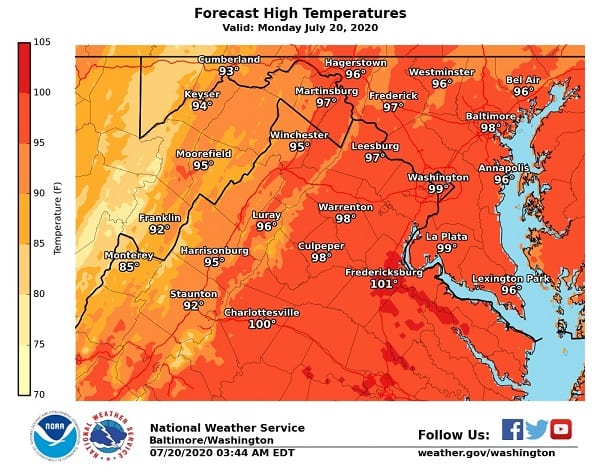 NWS Maryland High Temperature Forecast 20200720