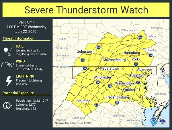 NWS Thunderstorm Watch Maryland 20200722