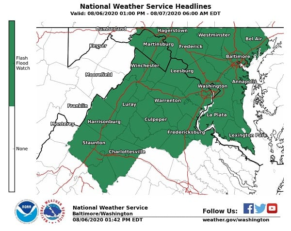 NWS Flash Flood Maryland 20200806