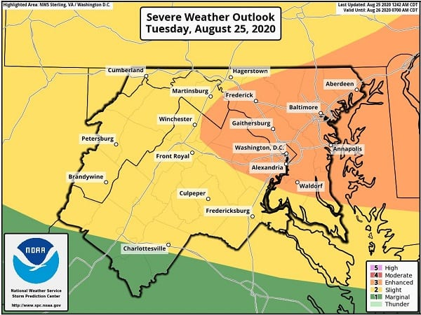 NWS Maryland Storm Outlook 20200825