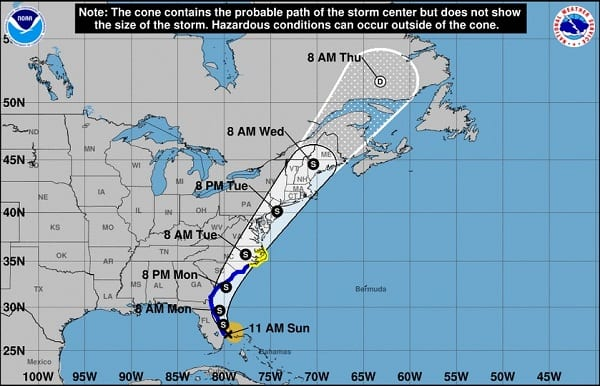 Tropical Storm Isaias Projected Path 20200802