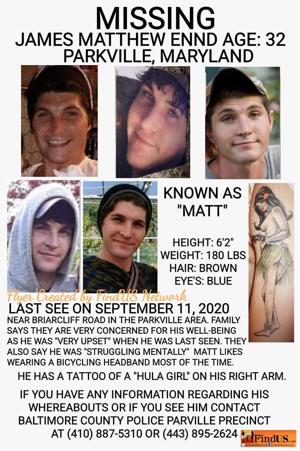 James Matthew Ennd Missing Parkville