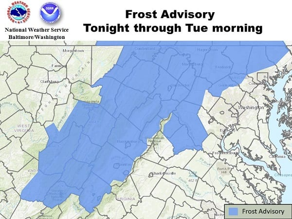NWS Frost Advisory Baltimore 20200921