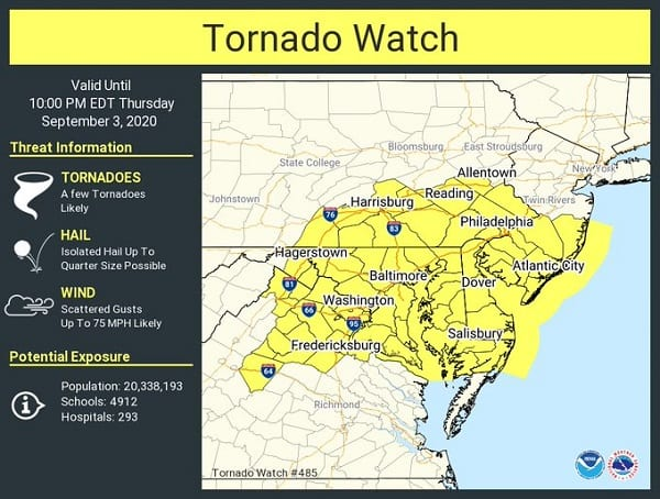 NWS Tornado Watch Maryland 20200903
