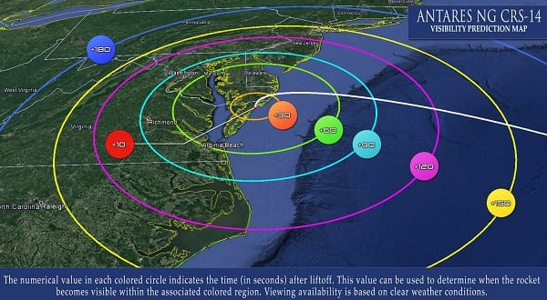 Antares Rocket Launch Visibility Map 20201001