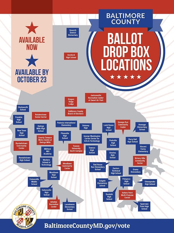 Baltimore County Ballot Drop Box Locations 2020