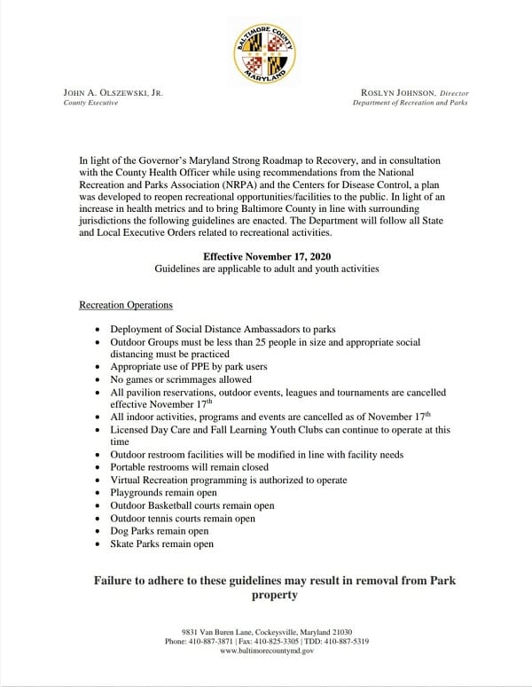 Baltimore County Parks and Rec Guidelines 20201117