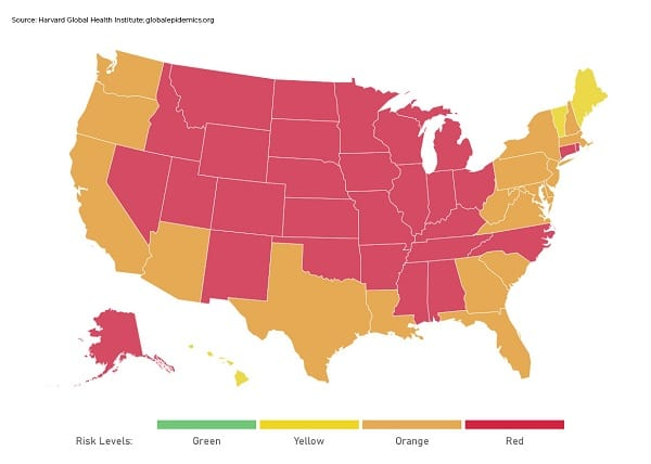 COVID Risk Level by State 20201107