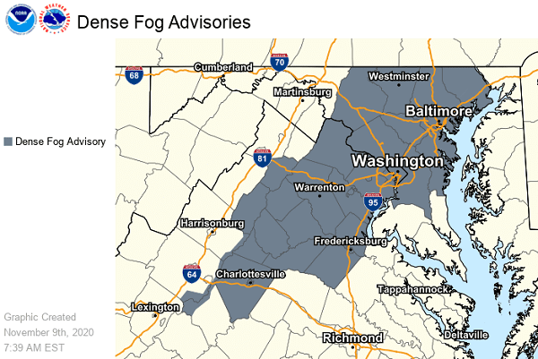 NWS Maryland Dense Fog Advisory 20201109