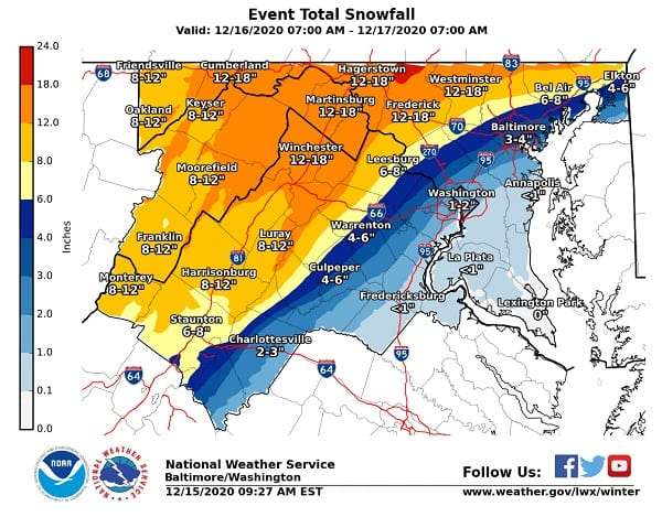 NWS Maryland Snowfall Forecast Map 20201215