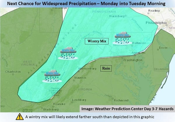NWS Baltimore Wintry Mix 20210125