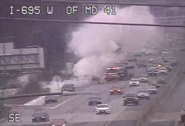 Vehicle Fire I-695 Parkville 20210214