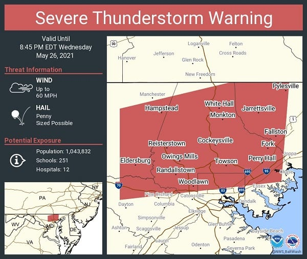 NWS Baltimore Thunderstorm Warning 20210526a