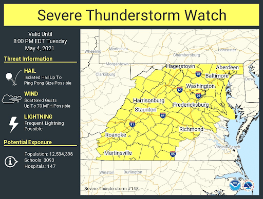 NWS Maryland Severe Thunderstorm Watch 20210504