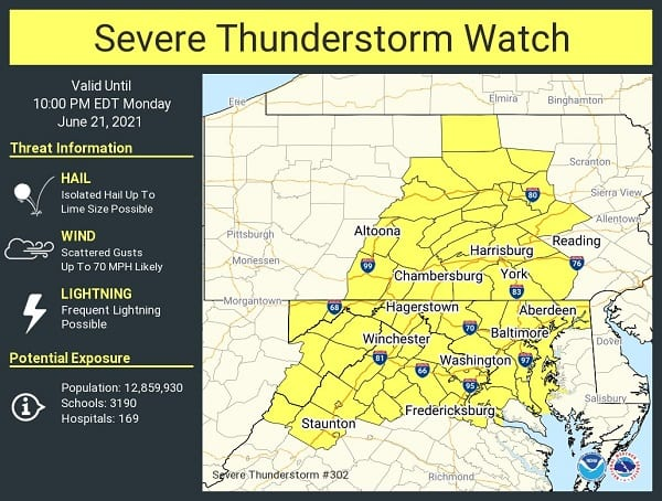 NWS Baltimore Severe Thunderstorm Watch 20210621