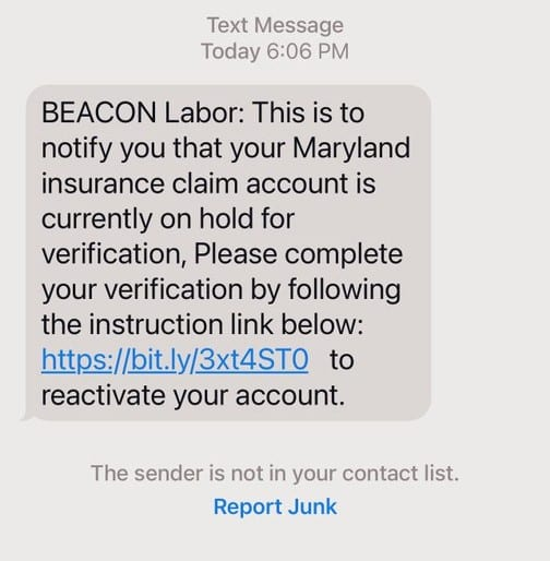 MD Labor Beacon Spam Unemployment SMS Text 20210713