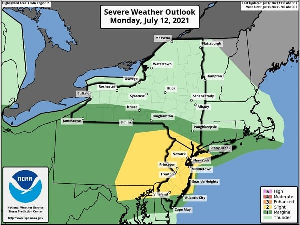 NWS Baltimore Severe Storm Probability 20210712a