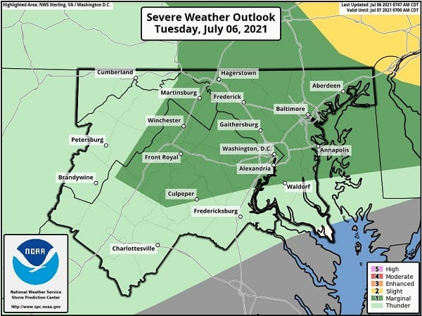 NWS Baltimore Storm Probability 20210706