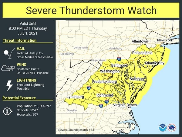 NWS Baltimore Thunderstorm Watch 20210701