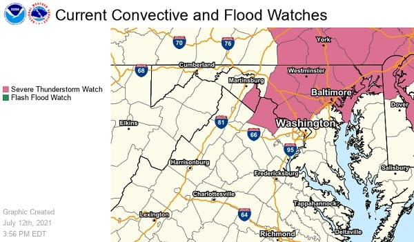 NWS Baltimore Thunderstorm Watch 20210712
