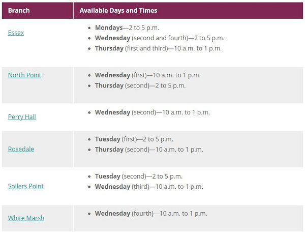 Baltimore County Public Library Social Worker Schedule