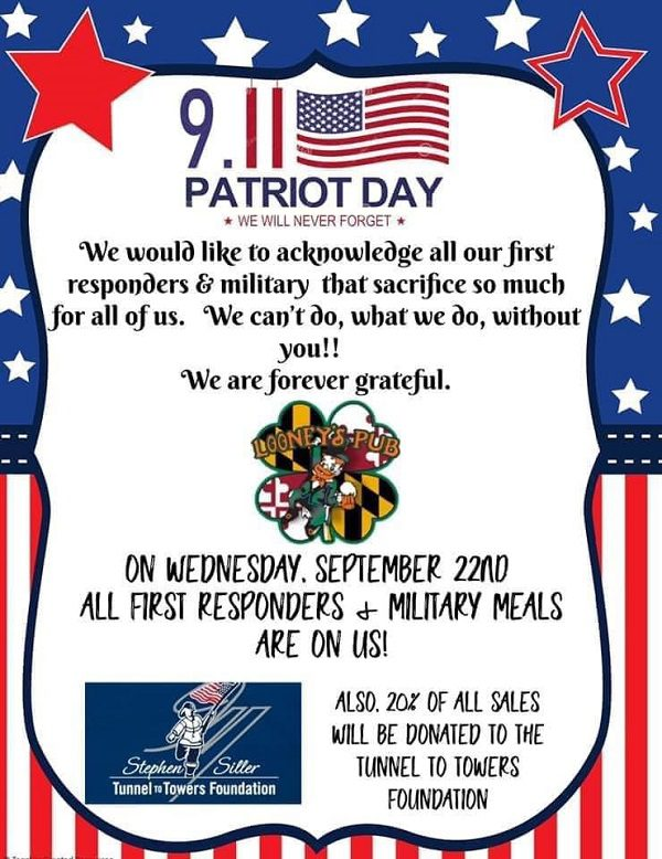Looney's Pub Perry Hall Patriot Day 20210922