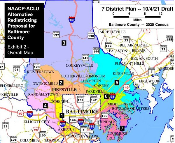 NAACP ACLU Alternative Proposed Baltimore County Redistricting Map 2021
