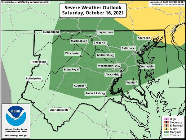 NWS Baltimore Severe Weather Outlook 20211016